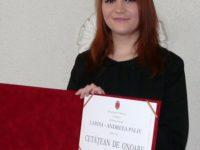 Larisa-Andreea Pălie, cetăţean de onoare la 19 ani