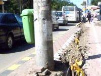 """Piedici la """"îngroparea"""" cablurilor care atârnă pe stâlpii şi clădirile din Suceava"""