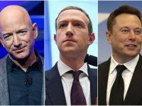 Jeff Bezos, Mark Zuckerberg şi Elon Musk au făcut anul acesta 115 miliarde de dolari