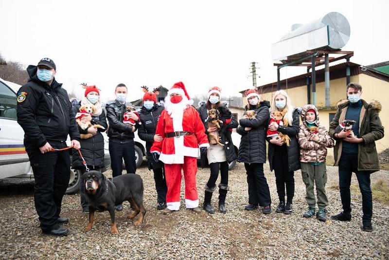 Câinele poliţist Oscar a fost Moş Crăciun