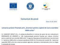 """Lansarea proiect finanțat prin """"Granturi pentru capital de lucru acordate IMM-urilor"""""""