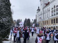 Sindicaliştii din sănătate şi asistenţă socială au protestat faţă de îngheţarea veniturilor