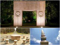 Trilogia brâncuşiană de la Tg. Jiu: Coloana infinitului (Coloana sacrificiului infinit), Masa tăcerii (Masa apostolilor neamului) şi Poarta sărutului (Monumentul întregirii neamului)