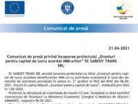 """Comunicat de presă privind începerea proiectului """"Granturi pentru capital de lucru acordat IMM-urilor"""" SC SABEDY TRANS SRL"""