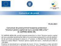 """Comunicat de presă privind începerea proiectului """"Granturi pentru capital de lucru acordat IMM-urilor"""" SC ZAPPING MEDIA SRL"""