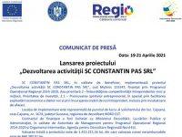 """Lansarea proiectului """"Dezvoltarea activității SC CONSTANTIN PAS SRL"""""""