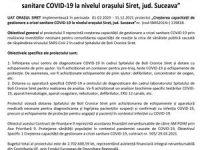 """Lansarea proiectului """"Creșterea capacității de gestionare a crizei sanitare COVID-19 la nivelul orașului Siret, jud. Suceava"""""""