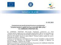 """Comunicat de presă privind finalizarea proiectului """"Granturi pentru capital de lucru acordat IMM-urilor"""" SC CODREANU SPEDITION SRL"""