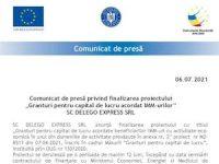 """Comunicat de presă privind finalizarea proiectului """"Granturi pentru capital de lucru acordat IMM-urilor"""" SC DELEGO EXPRESS SRL"""