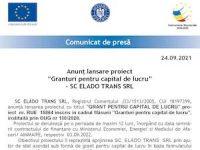 """Anunț lansare proiect """"Granturi pentru capital de lucru"""" – SC ELADO TRANS SRL"""
