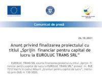 """Anunț privind finalizarea proiectului cu titlul """"Sprijin financiar pentru capital de lucru la EUROLUC TRANS SRL"""""""