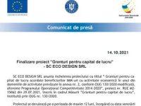 """Finalizare proiect """"Granturi pentru capital de lucru"""" – SC ECO DESIGN SRL"""
